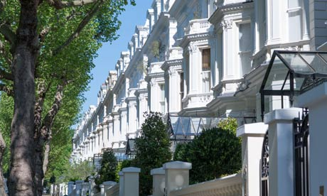 Exclusive properties on Holland Park in the Borough of Kensington and Chelsea, London, UK.